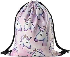 Bluelans® - Sac à dos à cordon en polyester avec motif licorne - Pour filles et femmes - Voyages,...