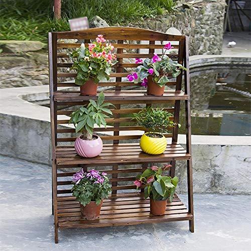 LLYU Stand de fleurs escalier 3 couches de plancher en bois massif carbonisé balcon jardin pot de fleurs rack anti-corrosion étape support de fleurs