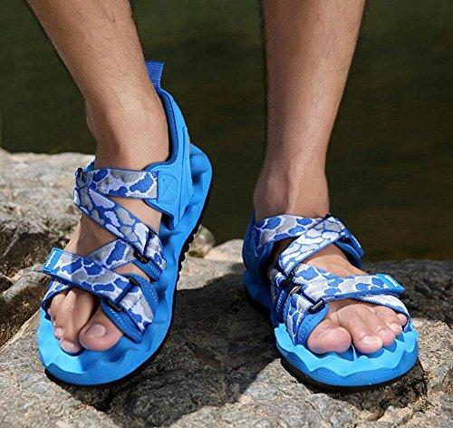 GLTER Uomini Casual Sandali 2017 Estate Nuovo Calzature Casual Massaggio Le Soledi delle Piedi Beach Beach Scarpe Sandali Romani Blue