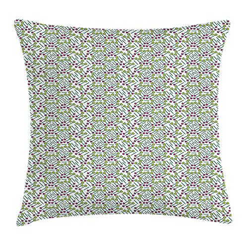 Hearts Throw Pillow Cushion Cover, Cupid\'s Arrows Valentine\'s Day Illustration with Symbol of Love Pattern, Decorative Square Accent Pillow Case, 18 X 18 inches, Pink Pale Green Yellow