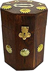 UniqueKrafts Wooden Handmade Octagonal One Flower Line Around with Beautiful Colored Coin Bank | Coin Box | Money Bank for Coins and Money for Kids and Adult