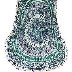 Tongshi Ronda del Hippie de la borla de la tapicería de la playa de la estera del tiro de la toalla de la yoga de Bohemia (C)