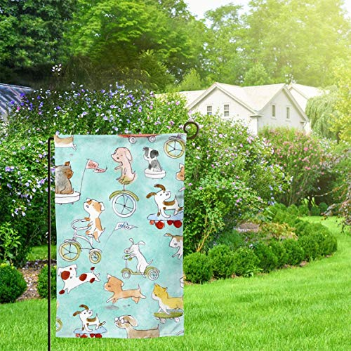 IconSymbol Garden Outdoor Flag Banner Adventure Awaits Dogs Lucinda Wei Decorative Weather Resistant Double Stitched 18x12.5 Inch -