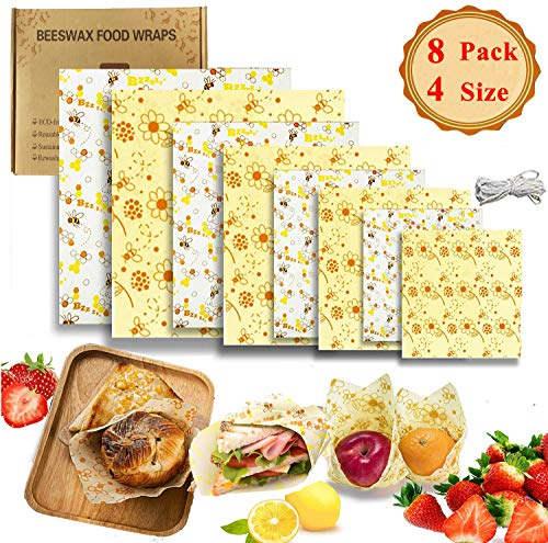Molipat Wachspapier Beeswax wrap Bienenwachstücher mit 8 Wachstücher Bienenwachs für Lebensmittelaufbewahrung und Sandwich-Verpackungen