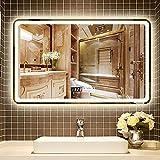 Lattice Badspiegel Beleuchteter Bad Explosionsgeschützter Spiegel mit LED-Licht - Berührungssensorschalter, Bluetooth-Lautsprecher, LED-Uhr, beheiztes Pad, 60X80CM