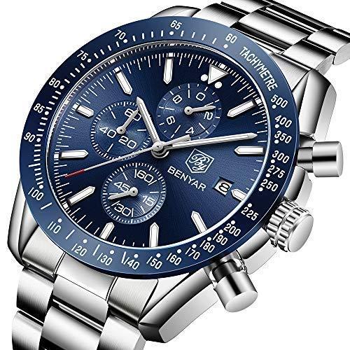 BENYAR Herren Uhren Chronograph Analog Quarzuhr Männer Wasserdicht Sport Armbanduhr