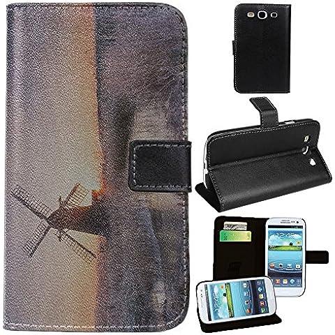 Paesaggi 144, Mulino a Vento, Nero Portafoglio Magnetico Custodia in Pelle con Funzione di Appoggio Borsa con Disegno Strutturato per Samsung Galaxy S3