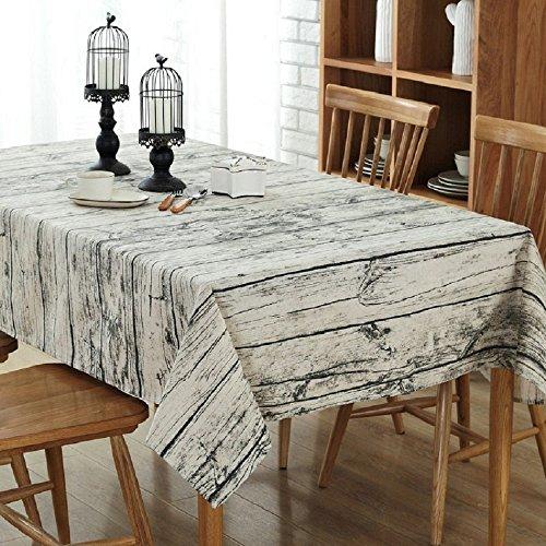 Nappe rétro Nappe carrée coton et lin Vintage Nappe Rectangulaire à motif en bois naturel (140*200)