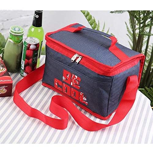 GAOLI Picnic Bag Outdoor Picnic Bag Hand-Held Thermal Insulation Bag Easy to Pack Red.