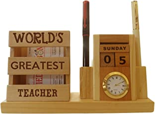 Tied Ribbons World's Greatest Teacher Engraved Wooden Penstand