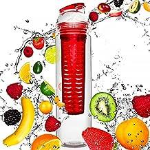 Botella de 800 ml para zumos de frutas con agua mineral / zumos de verduras con agua mineral / Disponible en verde, lila, azul y rojo. La botella ideal para practicar deporte, hecha con trifenilmetano y apta para el lavavajillas con un tapón fácil de usar / rojo