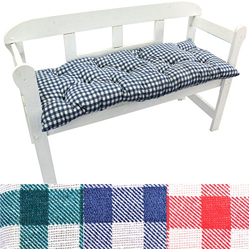 nxtbuy Auflage für Gartenbank - Sitzkissen Bankauflage mit ÖkoTex100 - Bequeme Polster-Auflage für Gartenbänke - in verschiedenen Größen & Farben, Größe:120 cm, Farbe:Karo-Blau