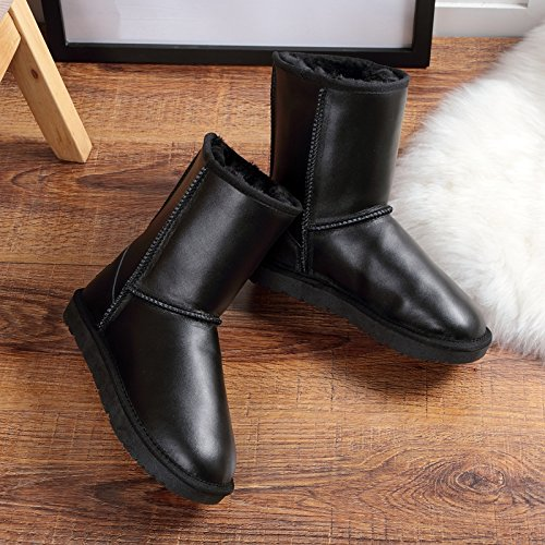 SQIAO-X- Cuoio Winter Snow Boots, impermeabile, canna metallica ragazza stivali dense e calde donne scarpe di colore solido scarpe di cotone Nero