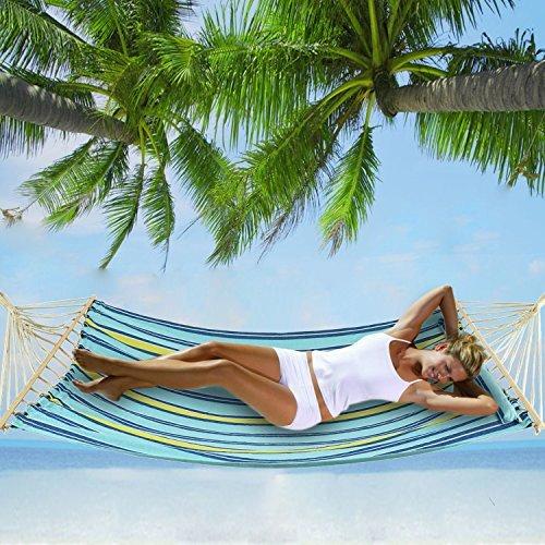 Homdox Camping Hängematte Garten Hängematte Doppel Hängematte mit Kopfkissen, Belastbarkeit bis 450Ibs aus Baumwoll
