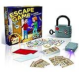 Escape Game est un jeu de société dans lequel il faudra faire preuve de réflexion pour résoudre des énigmes et ouvrir un cadeanas électronique. Contenu de la boîte : - 1 cadenas électronique - 30 cartes énigmes recto-verso - 20 jetons indices recto-v...