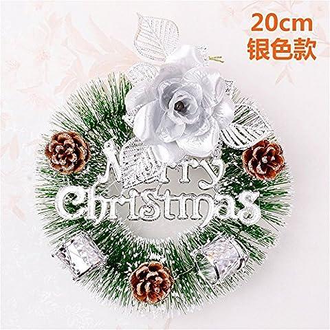Xmas decorativi artificiali?Ghirlanda di Natale Natale aghi di pino Rattan anello alfabeto ornamenti cards-Ornamenti natale argento 20