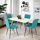 coavas Set von 4 Esszimmerstühle Stoff Kissen Küche Tisch Stühle mit stabilen Metall Beinen für Esszimmer, grün
