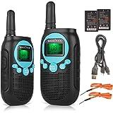 Talkie walkies avec batterie rechargeable au lithium-ion PMR446 Talkie walkies pour enfants pour une aventure en plein air jusqu'à 5 km 8 canaux Twin Pack Bleu SOCOTRAN