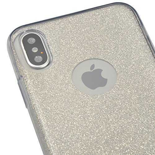 Coque iPhone X Gel 360 Protection INTEGRAL Silicone Case, Sunroyal Transparent Etui TPU Coque 360 Degres Anti Choc , 3 en 1 Etui Ultra Mince Coque rigide+border Souple en Silicone avec Bling Cristal P Gris