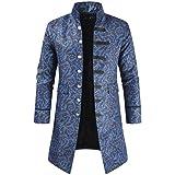 Huixin Tuxedo Men's Coats Gothic Steampunk Party Outerwear Jacket Printed Slim Blazer Trench Coat