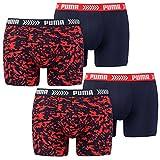 Puma Herren Boxershorts, 4 Stück, Boxers, Pants, Shorts, Unterhosen, Camouflage (XL, Rot/Blau)