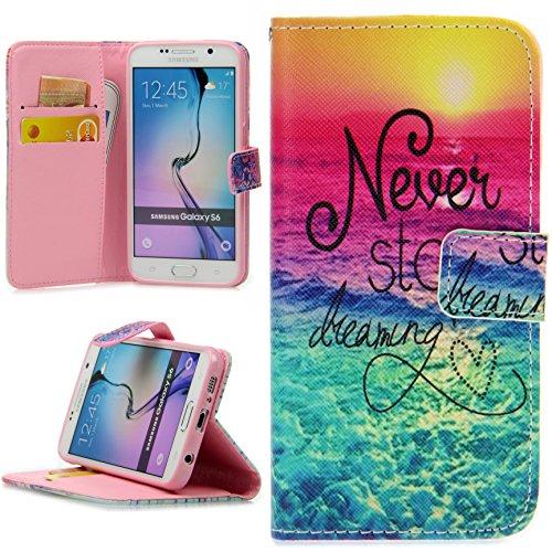 Handy Lux® Schutz Hülle Tasche Kartenfächer Flip Case Etui Cover Involto Motiv Design Hülle BookStyle für Samsung Galaxy S5 Mini, Never Stop Dreaming Bunt -