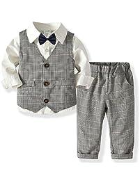 Zoerea 3 Pezzi Bambini Ragazzi Abbigliamento Set Camicia con Papillon +  Gilet + Pantaloni 178e1f0ecfa