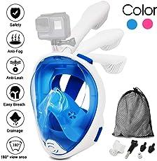 Jasonwell Panorama Vollmaske Schnorchelmaske Tauchmaske Vollgesichtsmaske mit 180° Sichtfeld, Dichtung aus Silikon Anti-Beschlag & Wasserdicht für Kinder und Erwachsene Anti-Fog Anti-Leak