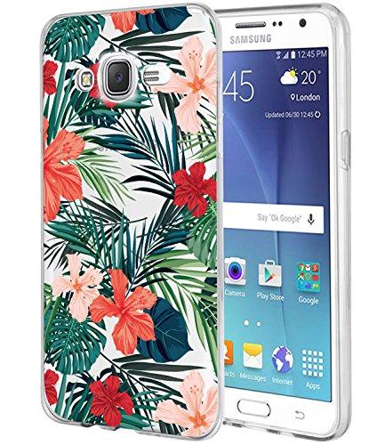 Galaxy J7Fall, J700Fall mit Blumen, baisrke Slim stoßfest transparent Floral Muster weiche Biegsame TPU Back Cove für Samsung Galaxy J7J700(2015), Palm Tree Leaves -