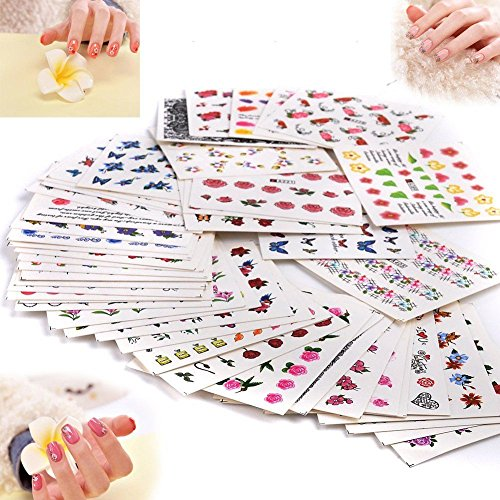 50 Stück Nail Art Plates Stamping Water Transfer Nagel Sticker Wasser Aufkleber Tattoo Nageldesign Maniküre Vanyda Stempel Schablonen
