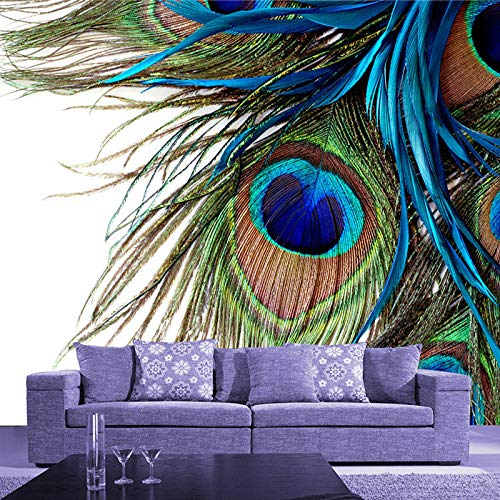 3D Großes Wandbild Schlafzimmer Wohnzimmer Sofa TV Hintergrundbild Druck Blue Peacock Feathers Fototapete 430x300cm (Billig Peacock Feathers)