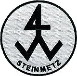JOB Stick-Aufnäher Patch Zunft Emblem Wappen STEINMETZ Ø 8 cm schwarz/weiß