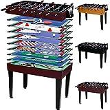 Maxstore Multigame Spieletisch Mega 15 in 1, inkl. komplettem Zubehör, Spieltisch mit Kickertisch, Billardtisch, Tischtennis, Speed Hockey UVM. in dunklem Holzdekor