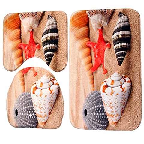Demiawaking 3 Piece Bath Mat Sets Non Slip, Flannel Fabric Conch and Shell Print Bathroom Sets Mats, Including Bath Mat, Pedestal Mat and Toilet Seat Cover
