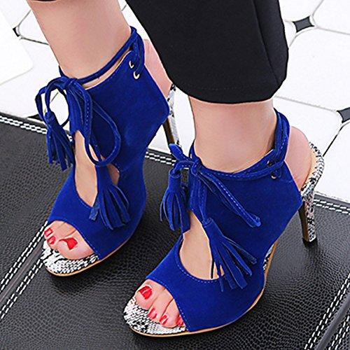 TAOFFEN Femmes Peep Toe Bottillons Sandales Aiguille Talons Hauts Lacets Open Back Ete Chaussures Bleu