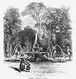 Rome: Borghese Gardens. /Nfountain In The Borghese Gardens. Wood Engraving 19Th Century. Fine Art Print (60.96 x 91.44 cm)