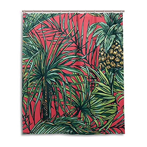Bath Shower Curtain 60x72 Inch,Retro Tropical Floral Pineapple ,Mildew Proof Polyester Fabric Bathroom
