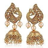 #4: Meenaz Wedding Bridal Gold Pearl Peacock Kundan Jhumka Jhumki Earrings For Women Girls Party wear stylish Necklace Jewellery set for women Girls- jhumki earrings-264
