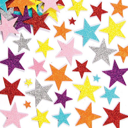 Glitter Star Foam Stickers Selt Adhesive Shapes 7 Colours, Kid's Craft Embellishments for Decorating, Scrapbooking & Card Making(Pack of 150) by Baker Ross