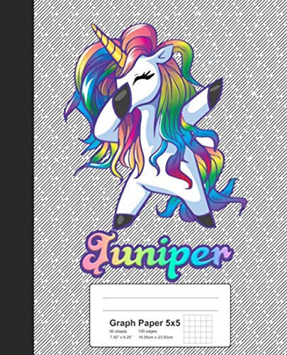 Graph Paper 5x5: JUNIPER Unicorn Rainbow Notebook (Weezag Graph Paper 5x5  Notebook, Band 792)