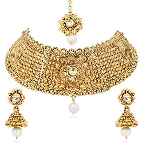 Meenaz Jewellery Gold Plated Kundan Pearl Necklace Set Mang Tikka Ear rings for girls Jewellery Set With Earrings For Women,Girls -Necklace Sets 127