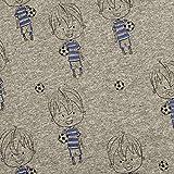 Jersey grau Melange Junge mit Fußball Foliendruck Metalloptik 95% Baumwolle 5% Elasthan Meterware 140cm breit Motivgröße Junge: ca. 8cm Gewicht: 200 g/m²