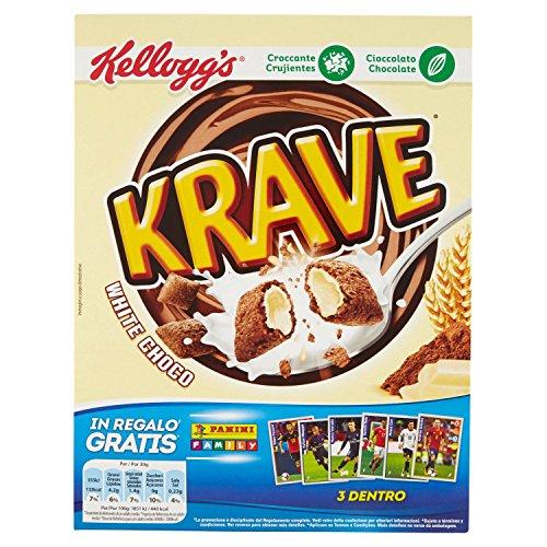 Kellogg's Choco Krave, Fagottini di Cereali al Cioccolato Ripieno di Cioccolato Bianco, 375 gr