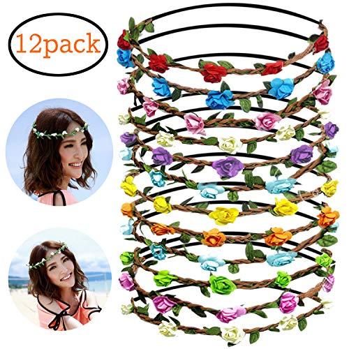 z Haare Mehrfarbige Rosen Blumen Stirnbänder für Damen Mädchen Bohemia Style Moderne Haarschmuck Hochzeit Krone Kette Haarband mit Elastischem Band MEHRWEG ()