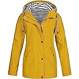 FOTBIMK - Chubasquero con capucha, impermeable, ligero, para mujer, cortavientos, prenda ideal para exteriores