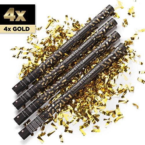 4 x XXL Konfetti-Shooter GOLD 80 cm - Party Popper Konfettikanone Konfettishooter Streamer - für Silvester, Hochzeit, Party, Geburtstag & Co. - PARTYMARTY GMBH®