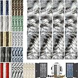 Flauschvorhang individuell kürzbar Auswahl: Meliert schwarz - grau - weiß