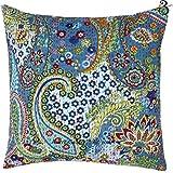 Juego de sofá kantha indio algodón funda para cojín diseño de cachemira hecho a mano parche decoración para el hogar sofá funda de almohada de Vintage estilo Aakriti galería, azul, 41x41 cm