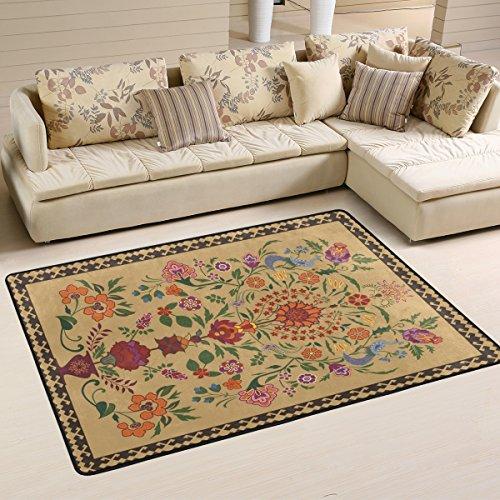 Yibaihe leicht Bedruckt Bereich Teppich Teppich Fußmatte Vintage Oriental Flower Muster für Wohnzimmer Schlafzimmer 3'x 2', 100% Polyester, Multi, 91 x 61 cm(3' x 2') (Oriental Bereich Teppich)