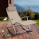 Rockcamp Garten- / Freizeitstuhl aus Alu-Textilene, Schaukelstuhl, faltbar, Beige